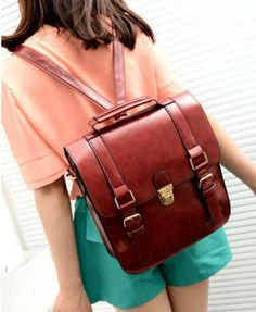 Retro Preppy Style PU Leather Backpack