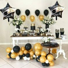 Black And Gold Party Decorations Graduation Party Desserts, Graduation Party Centerpieces, Grad Party Decorations, Graduation Party Planning, Graduation Balloons, Graduation Party Supplies, Graduation Celebration, Graduation Party Decor, Grad Parties