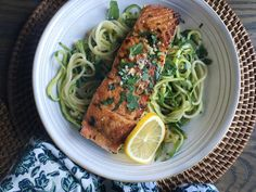 Seared Salmon with Garlicky Zucchini NoodlesDelish