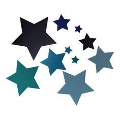 Muurstickers sterren in zilver, goud of blauwtinten handgemaakt en ...