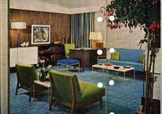 Blue room, Mid Century Modern. 1956 edition, Better Homes & Gardens Decorating Book.