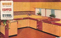 1950s wood, copper, and steel kitchen. Click the image to learn how to give your kitchen a mid century makeover! #retrokitchen http://www.retrorealtygroup.com