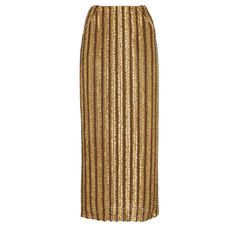 Brock Collection     Chainmail Embroidered Skirt (143.225 RUB) ❤ liked on Polyvore featuring skirts, bottoms, gold, embroidered pencil skirt, brown pencil skirt, knee length pencil skirt, brown skirt and mid calf pencil skirt