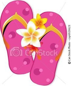 64a0dd4a3808 Flip flop sandals with plumeria flowers