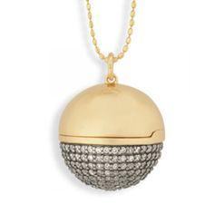Sydney Evan necklace: Large Yellow-Gold & Diamond Ball Locket