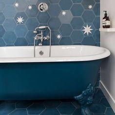 What a nice bathroom! Hex star from popham design. #pophamdesign #contemporarytiles #bathroom #madeinmoricco #handmade #marrakech #design Dream Bathrooms, Amazing Bathrooms, Contemporary Tile, Star Wars, Hexagon Tiles, Marrakesh, Clawfoot Bathtub, Sweet Home, Flooring