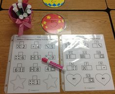 Teach addition & subtraction using part-part-whole.  Put worksheets in a page protector during math centers for independent practice.