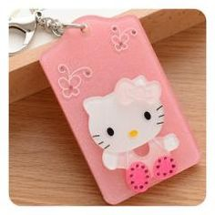 Hello kitty id card holder with lanyard price 499 free 45 off cute cartoon hello kitty acrylic bus card badge holder id business reheart