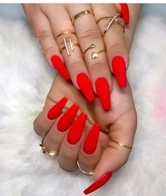 Your nails will appear fabulous! In general, coffin nails are also thought of as ballerina nails. Cute pastel orange coffin nails are amazing if you want to continue to keep things chic and easy. Marble nail designs are perfect if… Continue Reading → Coffin Nails Matte, Red Acrylic Nails, Dark Nails, Acrylic Nail Designs, Long Nails, Brown Nails, Red Glitter Nails, Coffin Nail Designs, Matte Nail Polish