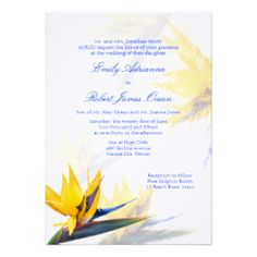 Bird of Paradise Hawaiian Wedding Invitation