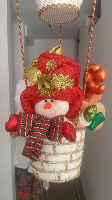 Globo navideño con muñecos colgantes paso a paso ~ Belleza y Peinados Snowman Crafts, Felt Crafts, Holiday Crafts, Diy And Crafts, Felt Christmas Decorations, Christmas Art, Christmas Wreaths, Christmas Ornaments, Christmas Applique