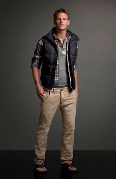 Abercrombie Slim Fit Chinos and Comfy Leather Treads with Warm Down Vest and Soft Henley
