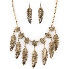 antiqued gold feather fringe necklace and earrings set
