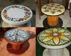 DIY Wood Wire Spool Furniture Ideas and Tutorials. Old wooden spools are one of the most suitable and low cost materials for DIY transformations. You may use them to make unique projects to get brand new fur Cool Art Projects, Easy Diy Projects, Mosaic Glass, Mosaic Tiles, Mosaic Art, Stained Glass, Marble Mosaic, Tile Art, Diy Tisch