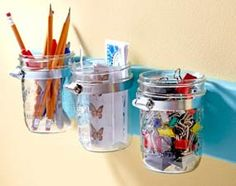 DIY Organization: Mason Jar Office Supply Holder. Screw hose clamps to a board, secure jars and you're done!