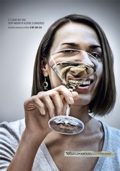 """SCARY, BUT TRUE"", social awareness campaign. Always drink in shop, it's better no"