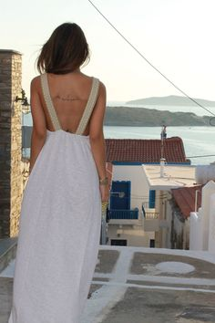 Looking at the breathtaking view in Andros