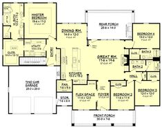 Plan #430-104 Craftsman Style House Plan - 4 Beds 3 Baths 2639 Sq/Ft Plan…