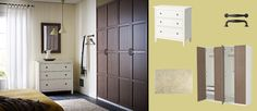 PAX white wardrobe with HEMNES grey-brown doors and HEMNES white chest of drawers-bedroom-