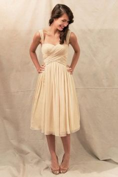 A-line Sweetheart Shoulder Straps Knee-length Chiffon Short Bridesmaid Dress