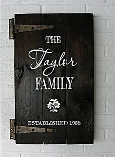 Family sign using a small door