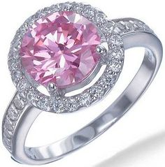 2.50 CT Pink and White CZ Ring in Sterling Silver