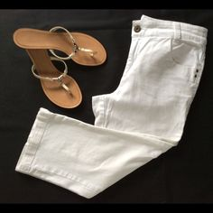 "Chico's Platinum Denim White Size 0.5 Capris White jeans by Chicos in a capri length will look great with a white top for this year's white-on-white trend. They are Chico's size 0.5 which corresponds to a size 6. They are 16"" across the waist and 20"" along the inseam. They are in great condition. The material is a cotton/spandex blend for a comfortable fit. Chico's Pants Capris"
