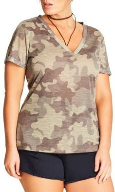 City Chic Plus Size Women's Camouflage Print Top