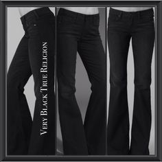 """New with tags! Very black True Religion flare leg stretch Dana jeans. Length approx 45"""", Inseam approx: 36"""" long. Rise: 9"""", Never Worn, never washed. 5 pockets with horseshoe stitching on pockets; single button closure; zipper front.Size: 28  No fading-Very Black. On sale now at most stores for $190- $271."""