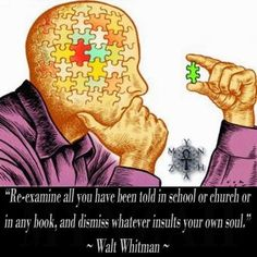 """""""Re-examine all you have been told in school or church or in any book, and dismiss whatever insults your own soul."""" ~ Walt Whitman"""