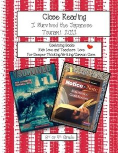 "Kids love the I Survived series of books. Teachers find the book Notice and Note a ""must have"" for teaching close reading, a Common Core State Standard. Pairing these books together in this unit will provide you with explicit examples for introducing the sign posts: memory moment, aha moment, again & again and words of the wiser."