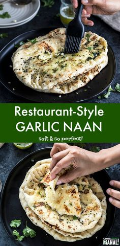 Soft and Buttery Homemade Garlic Naan - just like the one from your favorite Ind. - Soft and Buttery Homemade Garlic Naan - just like the one from your favorite Indian restaurant! Enjoy it with your favorite curry! Indian Food Recipes, Italian Recipes, Ethnic Recipes, Low Carb Recipes, Cooking Recipes, Cooking Videos, Naan Recipe, Garlic Naan Bread Recipe, Nann Bread Recipe