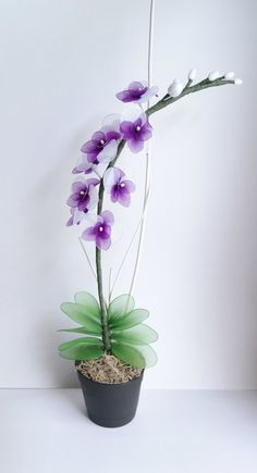 Radiant Orchid Purple and White Orchid Handmade Nylon by JJnKo, $39.00