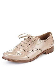 Nude Lace Up Brogue Shoes with Insolia Flex®