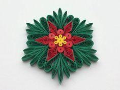 Snowflakes Poinsettia Green Red Yellow Christmas Tree