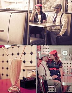 Justin + Nicole's Vintage Inspired Engagement Photos Old Diner- LOVE THIS IDEA!