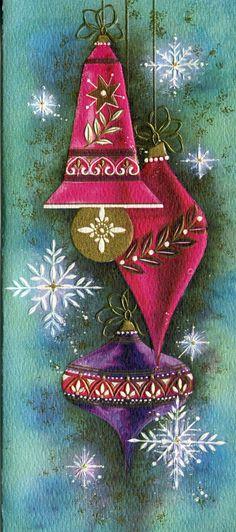 Vintage Kaycrest Christmas Card : Embossed Fuchia and Purple Ornaments