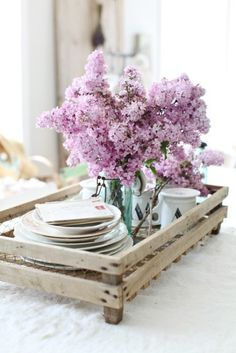 breakfast in bed with beautiful flowers..