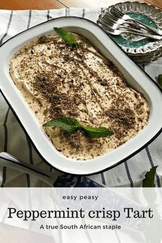 This perfectly creamy dreamy peppermint crisp tart is so easy to make and will have you coming back for more. A true South African staple! Easy Tart Recipes, Cooking Recipes, Yummy Recipes, Peppermint Crisp Tart, South African Recipes, Sweet Treats, Easy Meals, Food And Drink, Yummy Food