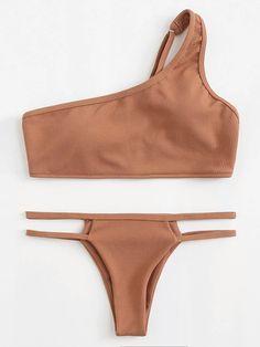 One Shoulder Ribbed Bikini Set -SheIn(Sheinside) 2020 Trendy Bikinis, Summer Bikinis, Cute Bikinis, Swimwear Fashion, Bikini Swimwear, Bikini Set, Bandeau Bikini, Bikini Fashion, Tankini