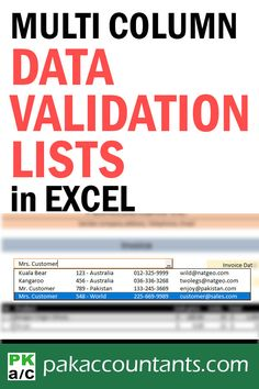Know about single column data validation lists? You can make multi column data validation lists for super easy data entry as well. Free Excel Tutorials, Tips & Cheat Sheets | #Excel #tips #cheatsheets