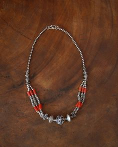 Indian Coral Silver Necklace