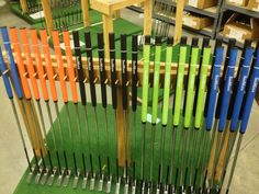 Counter balanced putters on drying rack.