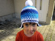 Boys blue hat, Kids hat crochet, Chunky beanie blue, Ski beanie blue, Blue hat ear flaps, Blue winter beanie, Pom pom hat stripes, Beanie hat blue