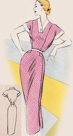 Vintage Sewing Pattern 1950's Day Dress in Any Size by Mrsdepew
