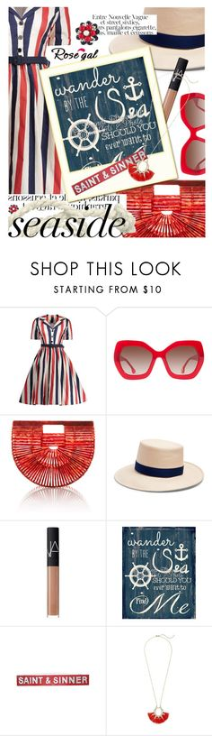 """""""Untitled #3542"""" by cultofsharon ❤ liked on Polyvore featuring Alice + Olivia, Cult Gaia, Gigi Burris Millinery, NARS Cosmetics, Rebecca Minkoff and Miriam Haskell"""