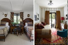 What a fun masculine modern set of rooms. Love that modern graphic wallpaper against the traditional kilim rug and the amazing mix of textiles against those leather headboards in the bedroom.