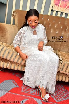 PHOTOS - Baptême: Jolie Fall illumine la toile avec ses tenues très classe Nigerian Lace Dress, Dresses With Sleeves, Shirt Dress, Couture, Long Sleeve, Zen, Photos, Shirts, Wedding
