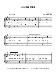 Brother John, free easy piano sheet music for beginning piano players.