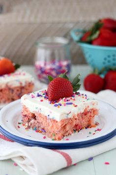 Funfetti Strawberry Poke Cake with CAKE MIX whipped cream. Sorry, we had to shout. Because CAKE MIX WHIPPED CREAM!